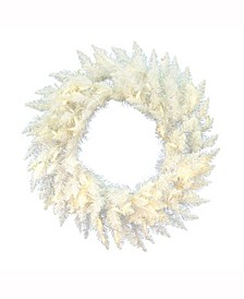 30 inch Sparkle White Spruce Artificial Christmas Wreath With 50 Warm White Lights