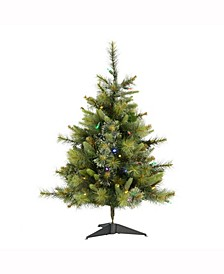 3 ft Cashmere Pine Artificial Christmas Tree With 100 Multi-Colored Led Lights
