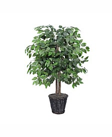 Vickerman 4' Artificial Ficus Bush, Made With Real Tag Alder Trunks