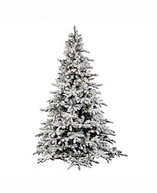 4.5 ft Flocked Utica Fir Artificial Christmas Tree With 300 Multi Led Lights