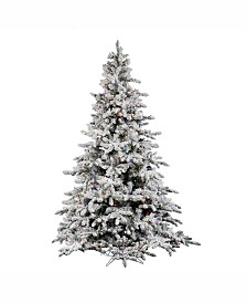 Vickerman 4.5 ft Flocked Utica Fir Artificial Christmas Tree With 300 Multi Led Lights