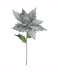"Vickerman 26"" Pewter Velvet Poinsettia Artificial Christmas Pick, 3 Per Bag"