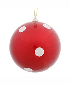"""Vickerman 8"""" Red Candy With White Polka Dots Ball Christmas Ornament"""