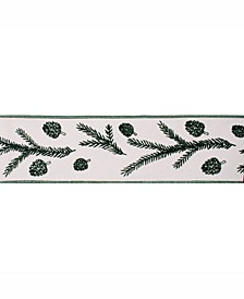 """4"""" Ivory With Green Spruce Pine Cone Christmas Ribbon"""