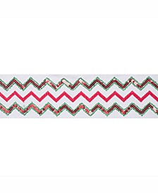 """4"""" Ivory Dupion With Red And Green Sequin Chevron Christmas Ribbon"""