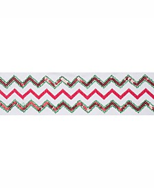 """Vickerman 4"""" Ivory Dupion With Red And Green Sequin Chevron Christmas Ribbon"""