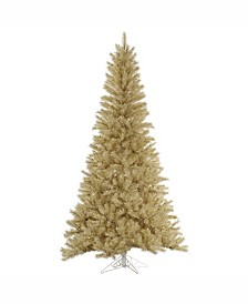Vickerman 7.5 ft White-Gold Tinsel Artificial Christmas Tree Unlit