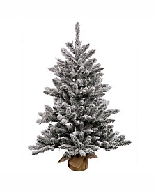 Vickerman 36 inch Flocked Anoka Pine Artificial Christmas Tree With 100 Clear Lights