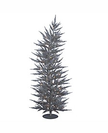 6 ft Silver Laser Artificial Christmas Tree With 150 Warm White Led Lights