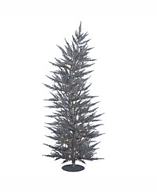 Vickerman 6 ft Silver Laser Artificial Christmas Tree With 150 Warm White Led Lights