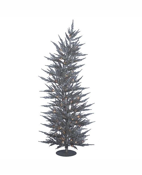 best service 88847 2adf2 6 ft Silver Laser Artificial Christmas Tree With 150 Warm White Led Lights