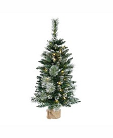 3 ft Snow Tipped Mixed Pine And Berry Christmas Tree
