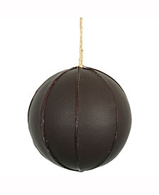 """6"""" Brown Leather Ball Ornament"""