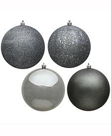 "Vickerman 2.4"" Pewter 4-Finish Ball Christmas Ornament, 24 Per Box"