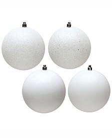 "Vickerman 6"" White 4-Finish Ball Christmas Ornament, 4 Per Bag"