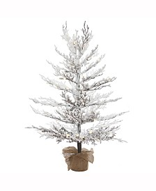 Vickerman 3 ft X 27 inch Flocked Winter Twig Pine Artificial Christmas Tree