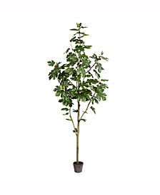 8' Artificial Potted Fig Tree With 100 Leaves
