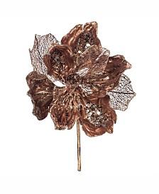 "Vickerman 14"" Chocolate Faux Pearl Glitter Magnolia 8"" Flower Head, Set of 3"
