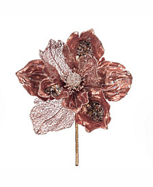"Vickerman 14"" Rose Gold Faux Pearl Glitter Magnolia 8"" Flower Head, Set of 3"