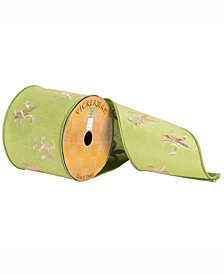 """4"""" X 10Yd Green Ribbon With Gold Embroidered Fleur-De-Lis Stitch"""