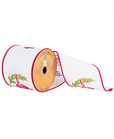 """4"""" X 10Yd White Ribbon With Red And Green Embroidered Lantern And Red Edge"""