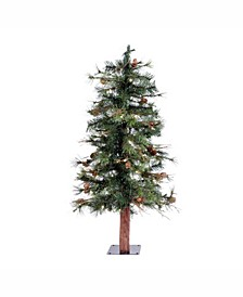 3 ft Mixed Country Pine Artificial Christmas Tree With 50 Warm White Led Lights