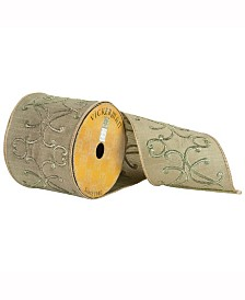 """4"""" X 10Yd Green Ribbon With Embroidered Scrolls"""