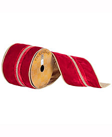 """4"""" X 10Yd Red Velvet Ribbon With Jewel Center Stripe And Gold Edge"""