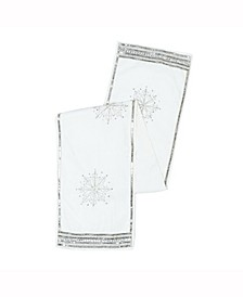 Decorative Table Runner Luxurious Pure White Polysilk Dupioni With Silver Sequins