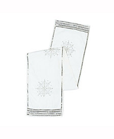 Vickerman Decorative Table Runner Luxurious Pure White Polysilk Dupioni With Silver Sequins