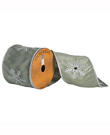 Green Ribbon With White Embroidered Snowflake With A Mirror Center And White Edge