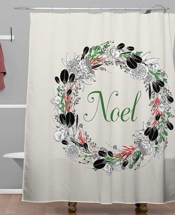 Deny Designs Iveta Abolina Silver Dove Christmas Noel Shower Curtain