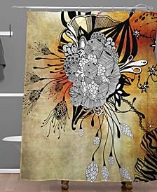Iveta Abolina Gray Yellow Feathers Shower Curtain