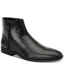 Calvin Klein Men's Luciano Tumbled Leather Zip Boots