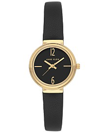 Anne Klein Women's Black Leather Strap Watch 28mm