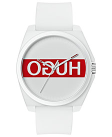 HUGO Unisex #Play White Rubber Strap Watch 40mm