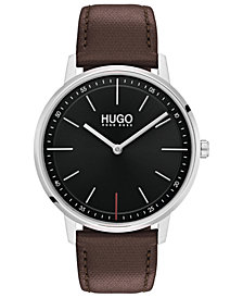HUGO Men's #Exist Ultra Slim Brown Leather Strap Watch 40mm