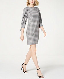 Jessica Howard Plaid Tie-Sleeve Dress