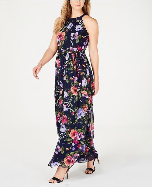 ac07069dfca7 Jessica Howard Belted Floral-Print Maxi Dress & Reviews - Dresses ...
