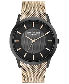 Kenneth Cole New York Men's Rose Gold-Tone Stainless Steel Mesh Bracelet Watch 41mm