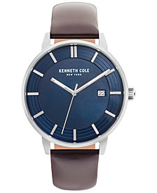 Kenneth Cole New York Men's Brown Leather Strap Watch 44mm