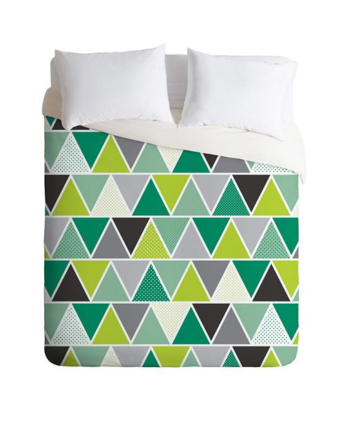 Deny Designs Heather Dutton Emerald Triangulum King Duvet Set