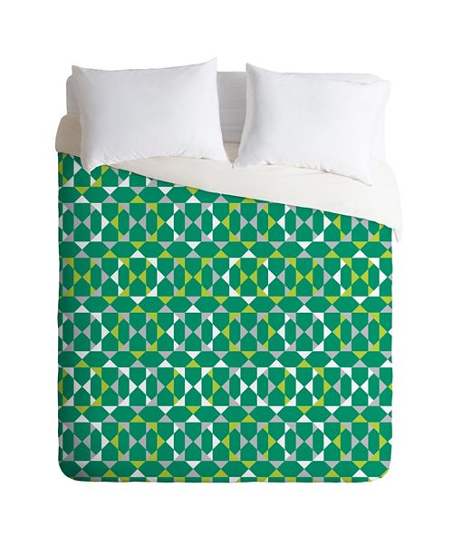 Deny Designs Heather Dutton Rocktagon Emerald Twin Duvet Set
