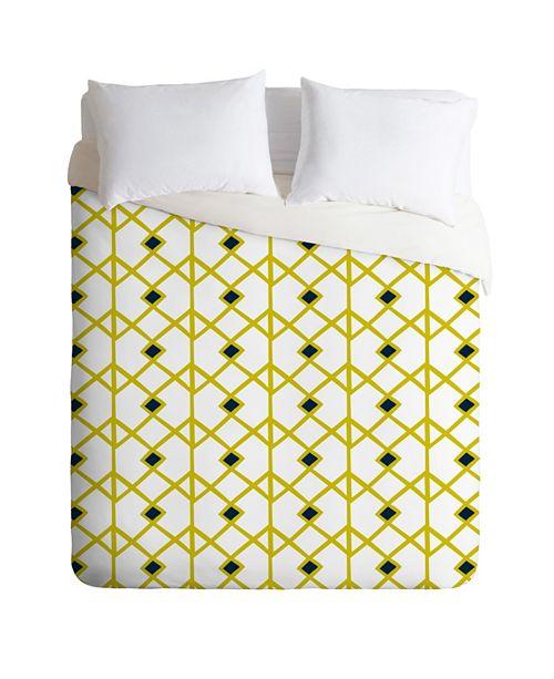 Deny Designs Heather Dutton Annika Diamond Citron King Duvet Set