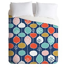 Deny Designs Heather Dutton Snowflake Holiday Bobble Chill Navy Queen Duvet Set