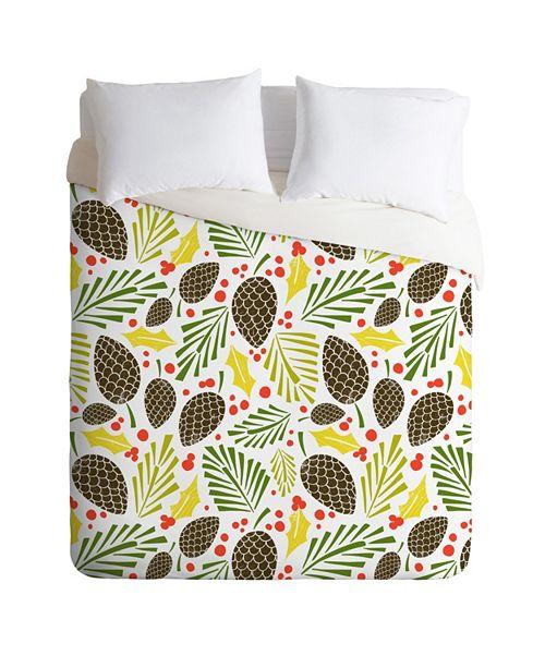 Deny Designs Heather Dutton Winter Woodlands White Twin Duvet Set