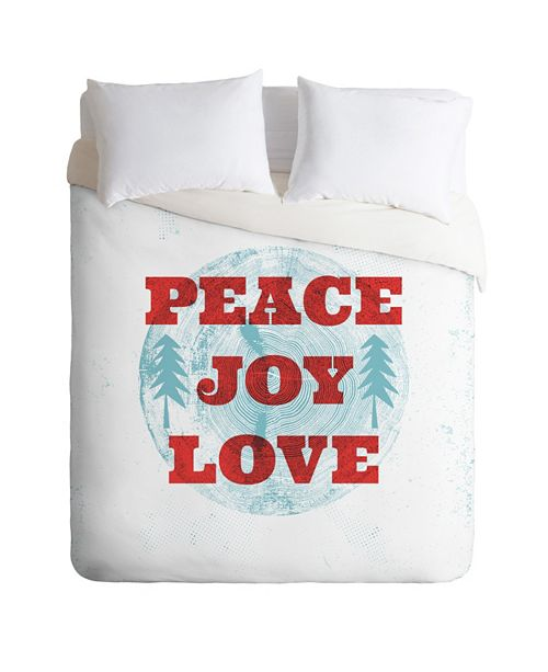 Deny Designs Heather Dutton Peace Joy Love Woodcut Queen Duvet Set
