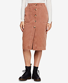 Free People Cotton Button-Up Skirt