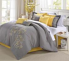 Pink Floral 12-Pc Queen Comforter Set