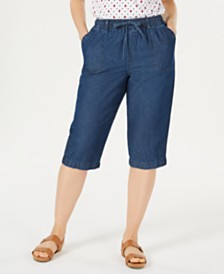 Karen Scott Petite Cotton Eyelet Denim Skimmer Shorts, Created for Macy's